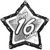 "Ballon étoile en alu ""Happy Birthday Stars 16"" 45 cm"