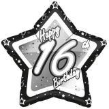 "Ballon étoile en alu ""Happy Birthday Stars 16"" 45 cm"