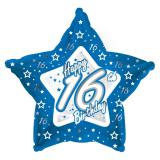 "Ballon-étoile en alu Happy Birthday ""Pretty Blue 16"" 45 cm"