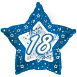 "Ballon-étoile en alu Happy Birthday ""Pretty Blue 18"" 45 cm"