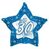 "Ballon-étoile en alu Happy Birthday ""Pretty Blue 30"" 45 cm"