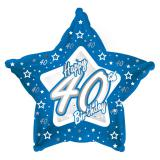 "Ballon-étoile en alu Happy Birthday ""Pretty Blue 40"" 45 cm"