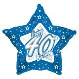 "Ballon-étoile en alu Happy Birthday ""Pretty Blue 40"" 45 cm"