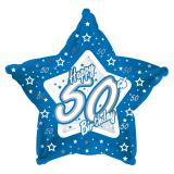 "Ballon-étoile en alu Happy Birthday ""Pretty Blue 50"" 45 cm"