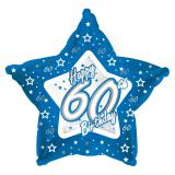 "Ballon-étoile en alu Happy Birthday ""Pretty Blue 60"" 45 cm"