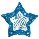 "Ballon-étoile en alu Happy Birthday ""Pretty Blue 70"" 45 cm"