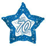 "Ballon-étoile en alu Happy Birthday ""Pretty Blue 70"" 45 cm"