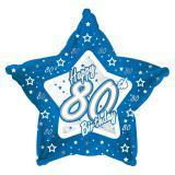 "Ballon-étoile en alu Happy Birthday ""Pretty Blue 80"" 45 cm"