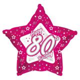 """Ballon en alu en étoile """"Pretty Pink"""" Happy 80th! 45 cm"""