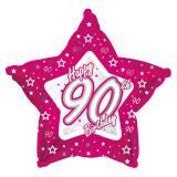 """Ballon en alu en forme d'étoile """"Pretty Pink"""" Happy 90th! 45 cm"""