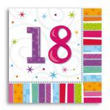 """16 serviettes à rayures """"18 ans"""""""