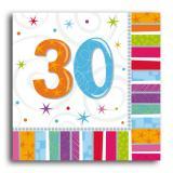 "16 Serviettes rayées ""30 ans"""