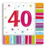 """16 serviettes à rayures """"40 ans"""""""