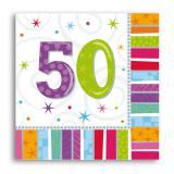 """16 serviettes à rayures """"50 ans"""""""