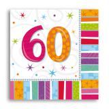 "16 serviettes rayées ""60 ans"""