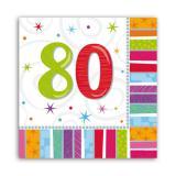 """16 serviettes à rayures """"80 ans"""""""
