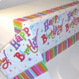 "Nappe rayée ""Happy Birthday"" 1,37 x 2,59 m"