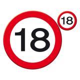 """Sets de table """"Panneau de limitation de vitesse 18 ans""""  8 pièces"""