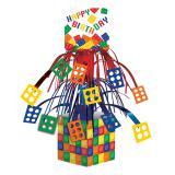 """Déco de table """"Briques colorées"""" Happy Birthday 36,8 cm"""