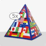 "Déco de table pyramide ""Drapeaux internationaux"" 13,5 cm 5 pcs."