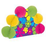 """Déco de table """"Fleurs fluo en papier crépon façon rétro"""" 25 cm"""