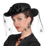 """Chapeau en tulle """"Veuve noire"""" 33 cm"""