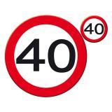 """Set de table """"Panneau de limitation de vitesse 40"""" 30 cm 8 pcs"""