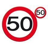 """Set de table """"Panneau de limitation de vitesse 50"""" 30 cm 8 pcs"""