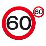 """Set de table """"Panneau de limitation de vitesse 60"""" 30 cm 8 pcs"""