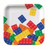 """8 petites assiettes carrées """"Briques colorées"""""""