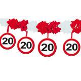 """Guirlande en papier gaufré """"Panneau de limitation de vitesse 20 ans"""" 4 m"""