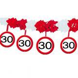 """Guirlande en papier gaufré """"Panneau de limitation de vitesse 30 ans"""" 4 m"""
