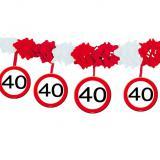 """Guirlande en papier gaufré """"Panneau de limitation de vitesse 40 ans"""" 4 m"""