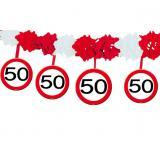 """Guirlande en papier gaufré """"Panneau de limitation de vitesse 50 ans"""" 4 m"""