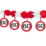 """Guirlande en papier gaufré """"Panneau de limitation de vitesse 60 ans"""" 4 m"""