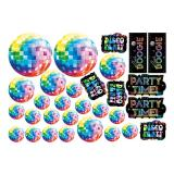 "Déco murale ""Disco Fever multicolore"" 30 pcs"