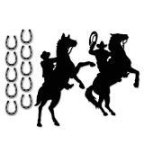 Déco murale silhouette de cowboy 12 pcs.