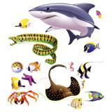 """Déco murale """"Requin, raie & Cie"""" 130 cm 16 pcs"""