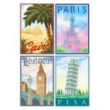 "Déco murale ""Villes internationales"" 4 pcs"