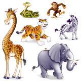 """Déco murale """"Rdv des animaux de jungle"""" 6 pcs"""