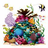 """Déco murale """"Récif de corail avec poissons"""" 160 cm 4 pcs"""