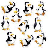 """Déco murale """"Drôles de pingouins"""" 17 cm 10 pcs."""