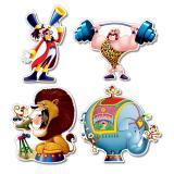 """Déco murale """"Clown rigolo"""" 36 cm 4 pcs"""