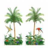 """Déco murale """"Palmiers avec perroquets"""" 165 x 85 cm 2 pcs"""
