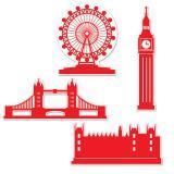 Déco murale silhouettes Londres 4 pièces