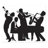 """Déco murale silhouettes """"Musiciens Années 20"""" 183 x 152 cm"""