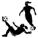 "Silhouettes murales ""Footballeuses"" 2-pcs."
