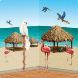 """Décoration murale """"Huttes en paille et oiseaux exotiques"""" 127 cm 10 pcs"""
