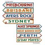 """Déco murale panneaux indicateurs """"Australie"""" 10 x 61 cm 4 pcs"""
