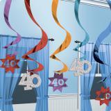 """Suspensions à spirales """"40 ans"""" 15 pcs"""